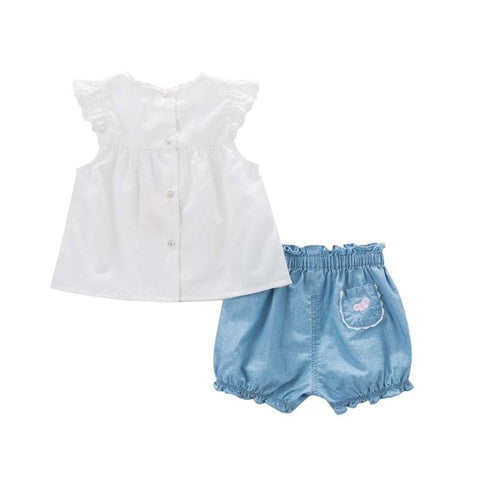 Summer Sleeveless Shirt + Shorts Outfit for Baby Girls - tiny-tots-eco