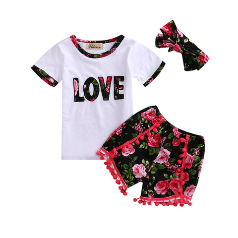 3 Piece Summer Floral Outfit for Baby Girls - tiny-tots-eco