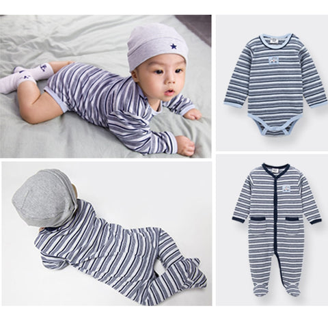 Baby Striped Cotton Romper/Overall - tiny-tots-eco
