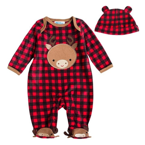 Adorable Long Sleeved Winter Romper + Matching Hat - tiny-tots-eco
