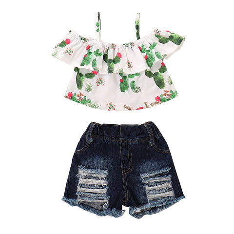 Casual Floral Baby Girl Off Shoulder Top + Jean Shorts Outfit - tiny-tots-eco