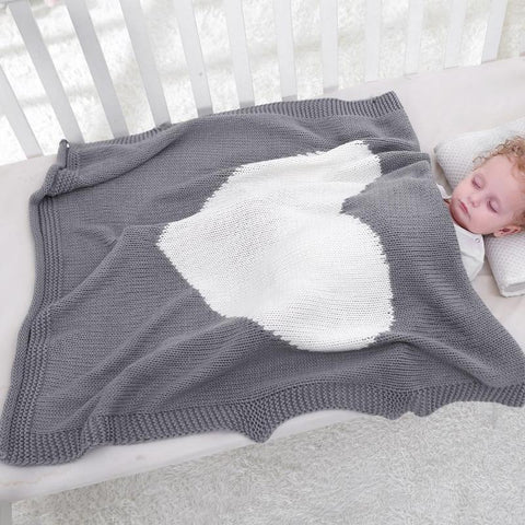 Knitted Heart Designed Swaddle Blanket - tiny-tots-eco