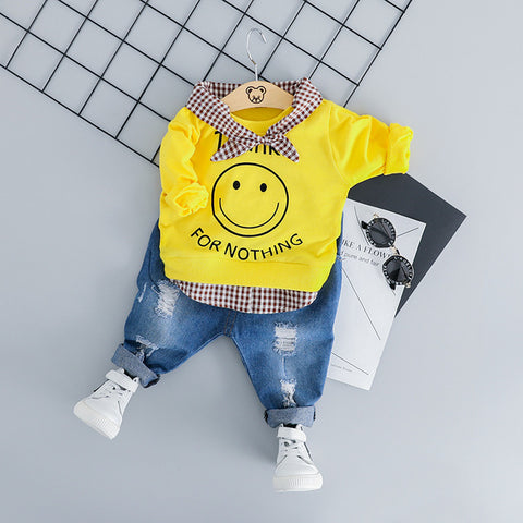 T-shirt+Ripped Jeans Baby Boy 2Pc Set - tiny-tots-eco