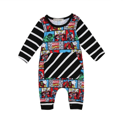 Comic Superhero Striped Long Sleeve Jumpsuit for Babies - tiny-tots-eco