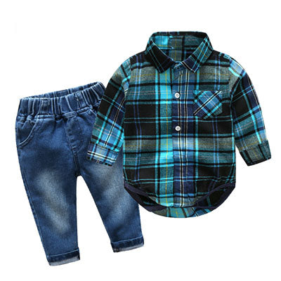 Cotton Gentleman Shirt + Jeans For Boys - tiny-tots-eco