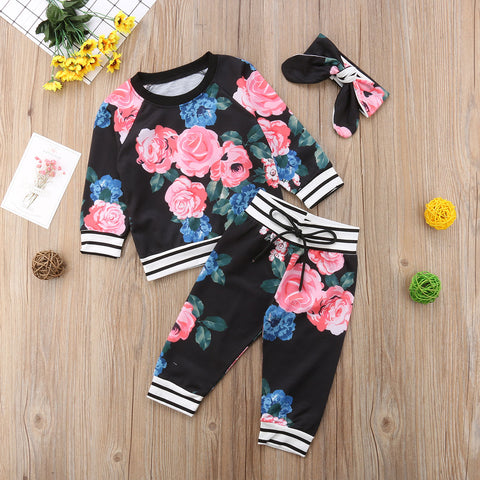 Baby Girls Floral Clothes Set Long Sleeved Shirt + Pants + Bandana - tiny-tots-eco