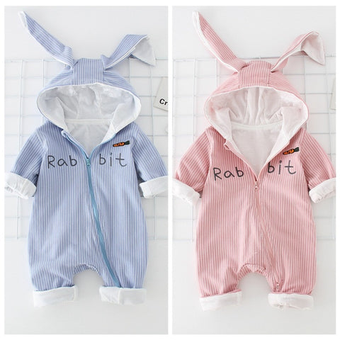 Striped Cotton Hooded Bunny Ear Jumpsuits - tiny-tots-eco