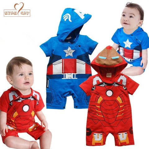 Superhero Short Sleeve Hooded Rompers - tiny-tots-eco