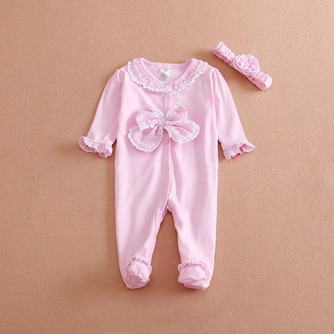 Adorable Pink Bow Cotton Romper - tiny-tots-eco