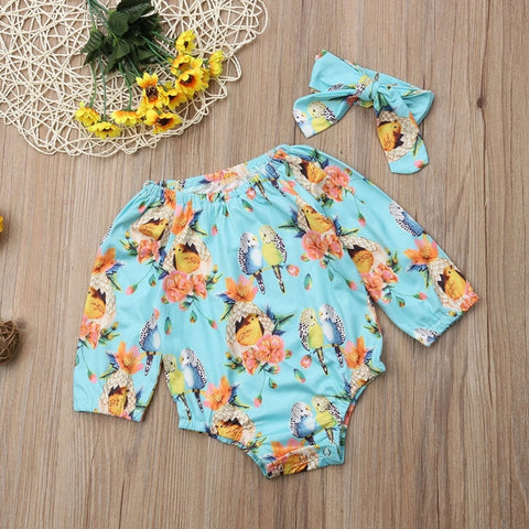Cotton Floral 2 piece Outfit For Baby Girls - tiny-tots-eco
