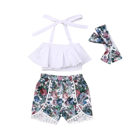 3 Piece Floral Summer Outfit for Baby Girls - tiny-tots-eco