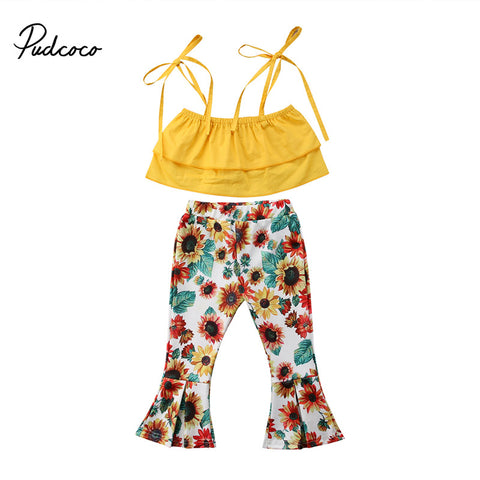 Stylish Summer Crop Top + Floral Wide Leg Pants - tiny-tots-eco