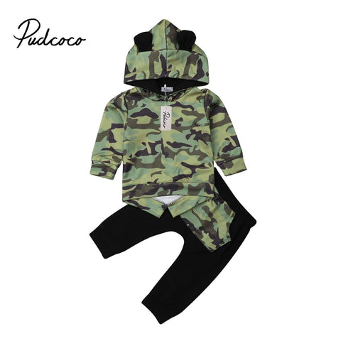 Hooded Ears Camouflage Sweater + Pants Outfits - tiny-tots-eco