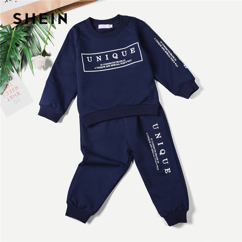 Aesthetic Navy  Blue Letter Print Sweatshirt + Pants Outfit for Boys - tiny-tots-eco