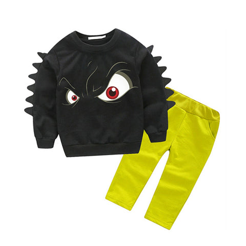 Cool Cartoon Eye Print Sweatshirt + Pants - tiny-tots-eco
