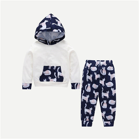 Casual Blue Print Hoodie + Matching Pants Outfit - tiny-tots-eco