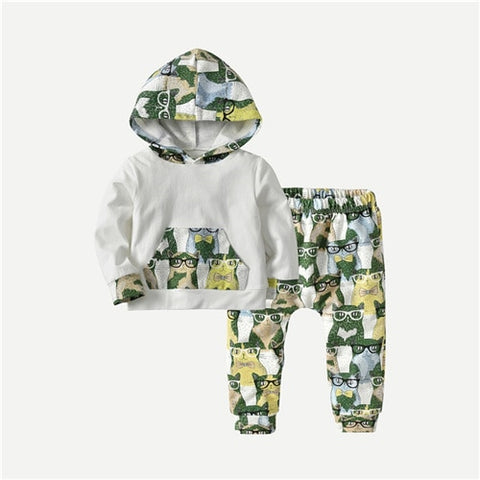 Casual Print Hoodie + Matching Pants Outfit - tiny-tots-eco