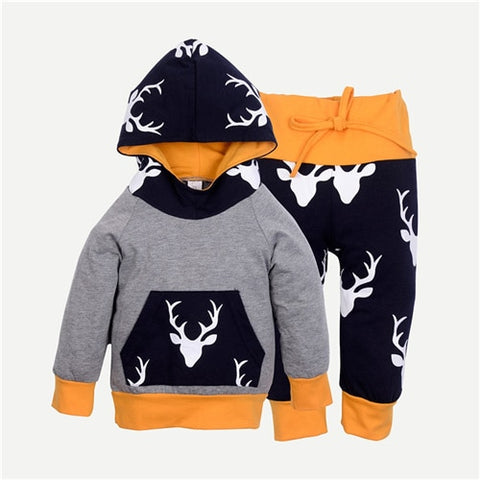 Casual Print Hooded Top + Pants Outfit for Boys - tiny-tots-eco