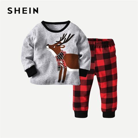 Christmas Themed Long Sleeve Shirt + Plaid Pants Outfit - tiny-tots-eco