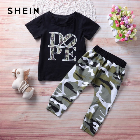 """DOPE"" Print Short Sleeve Shirt + Camouflage Pants Outfit for Boys - tiny-tots-eco"