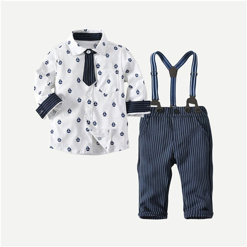 Preppy Tie Button Down Shirt + Striped Suspender Overalls for Boys - tiny-tots-eco