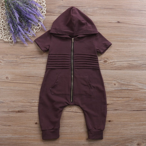 Cotton Hooded Jumpsuit For Baby Boys - tiny-tots-eco