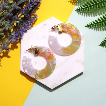 The Lemon Tri-colour Hoop Earrings