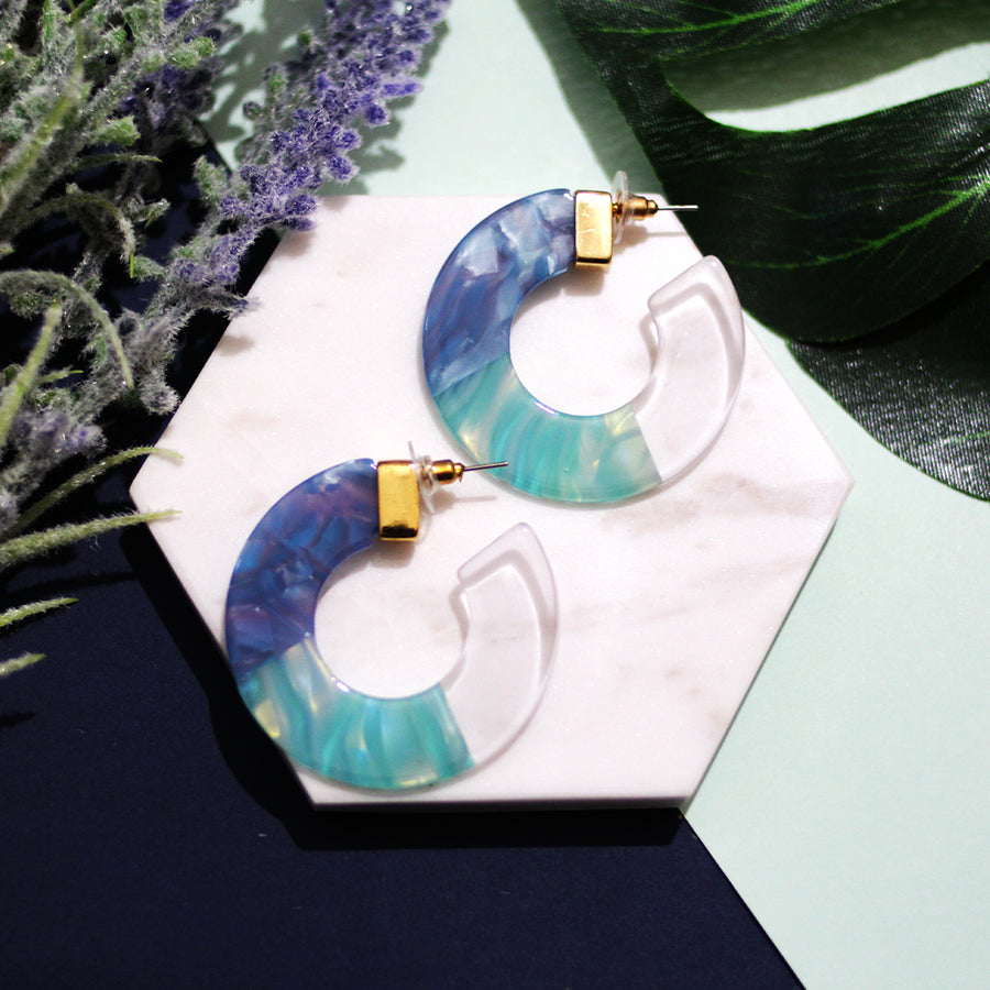 The Blueberry Tri-colour Hoop Earrings