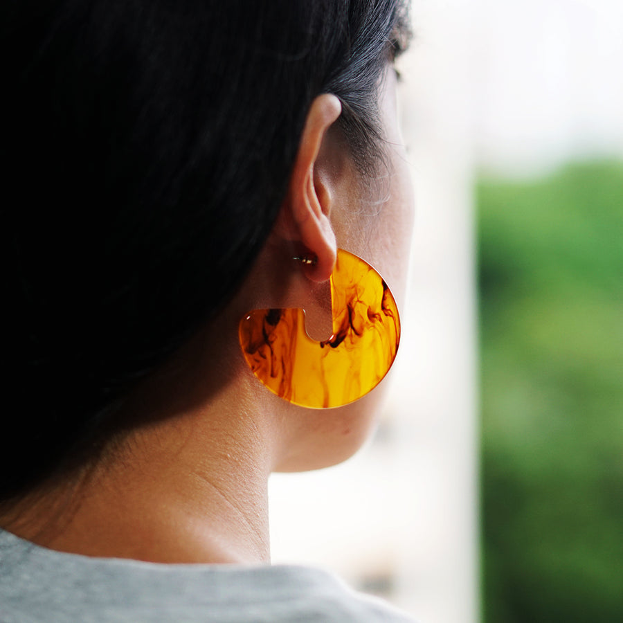 The Brown Tortoise Shell Pac-Man Loop Earrings