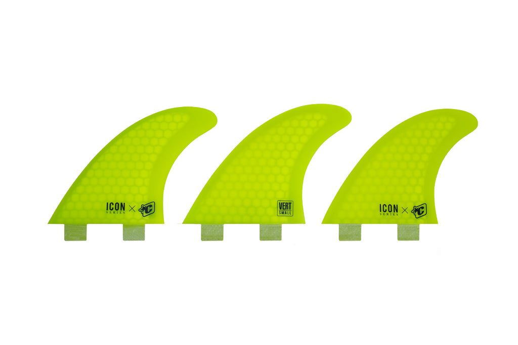 Creatures Of Leisure VERT ICON CORE FLEX DUAL TAB SMALL YELLOW (Compatible for FCS1 fin Boxes)