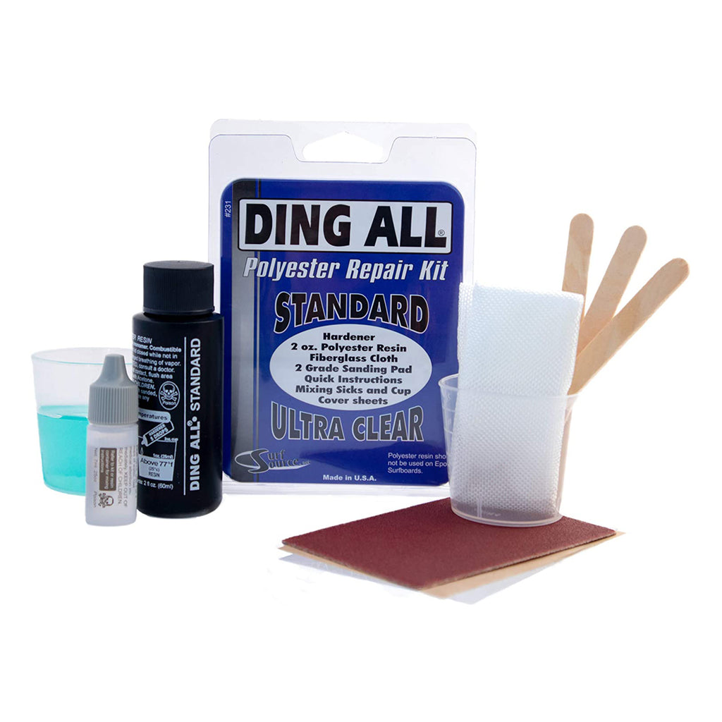 Ding All 2 Oz Polyester Repair Kit for Small to Medium Sized Polyester Surfboards Repairs