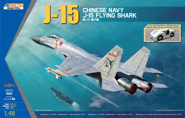 "KIN48065 - Chinese PLA Navy J-15/Russian SU-35 ""Flying Shark"" Fighter w/Tow Tractor & 4 Ground Crews ( New Tools 2018 )"