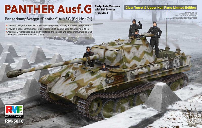"RM5016 - Ryefield - Sd.Kfz.171 ""Panther"" Ausf.G Early/Late Version w/Full Interior Details & Clear Turret & Upper Hull Parts - Ltd Edition"