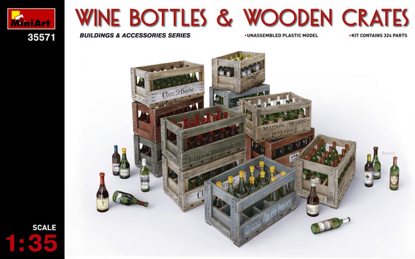 MINA35571 - (1/35) Wine Bottles & Wooden Crates