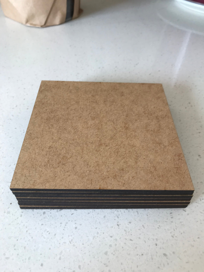 3 mm - Laser Cut Coasters - Square - 6 in a pack