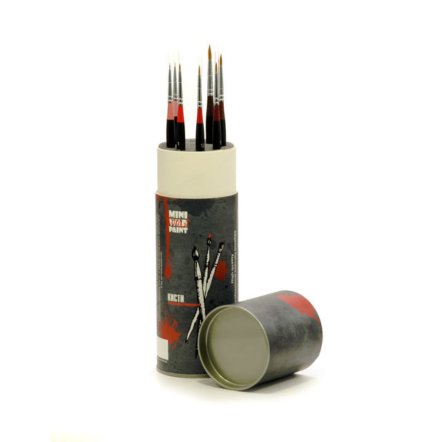 A-023 - Set of 7 Brushes Mini War Paint - Kolinsky with case tube