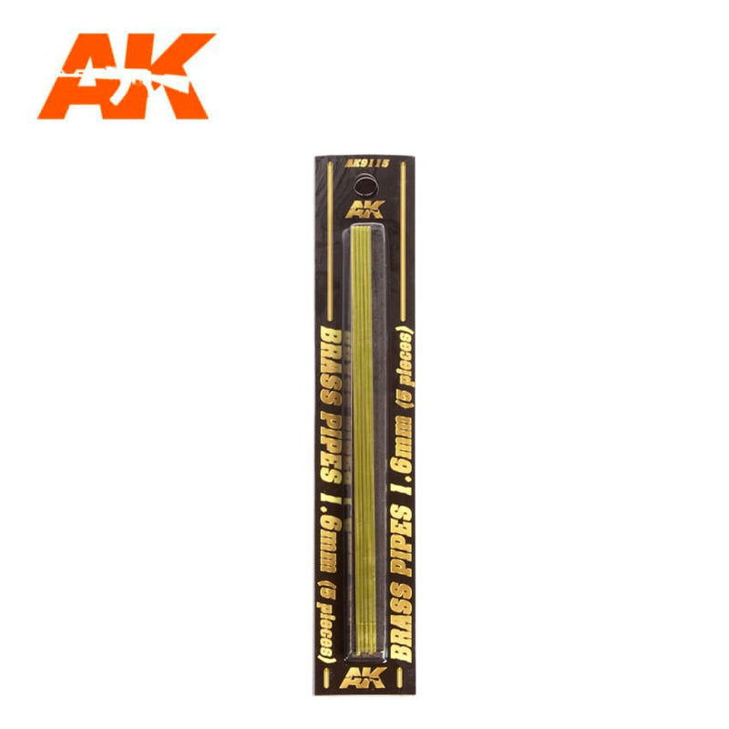 AK9115 - BRASS PIPES 1.6MM Ø. 5 UNITS