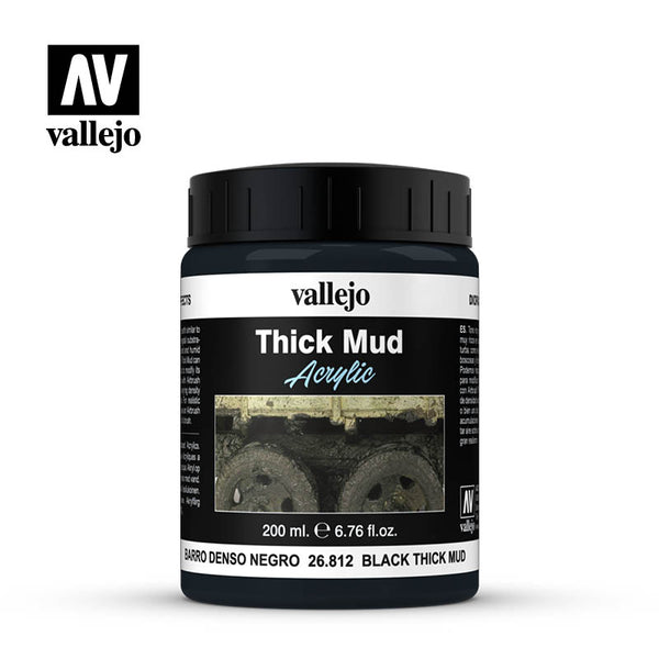 26.812 Black Thick Mud 200 ml - Vallejo Diorama Effects - Supernova Studio