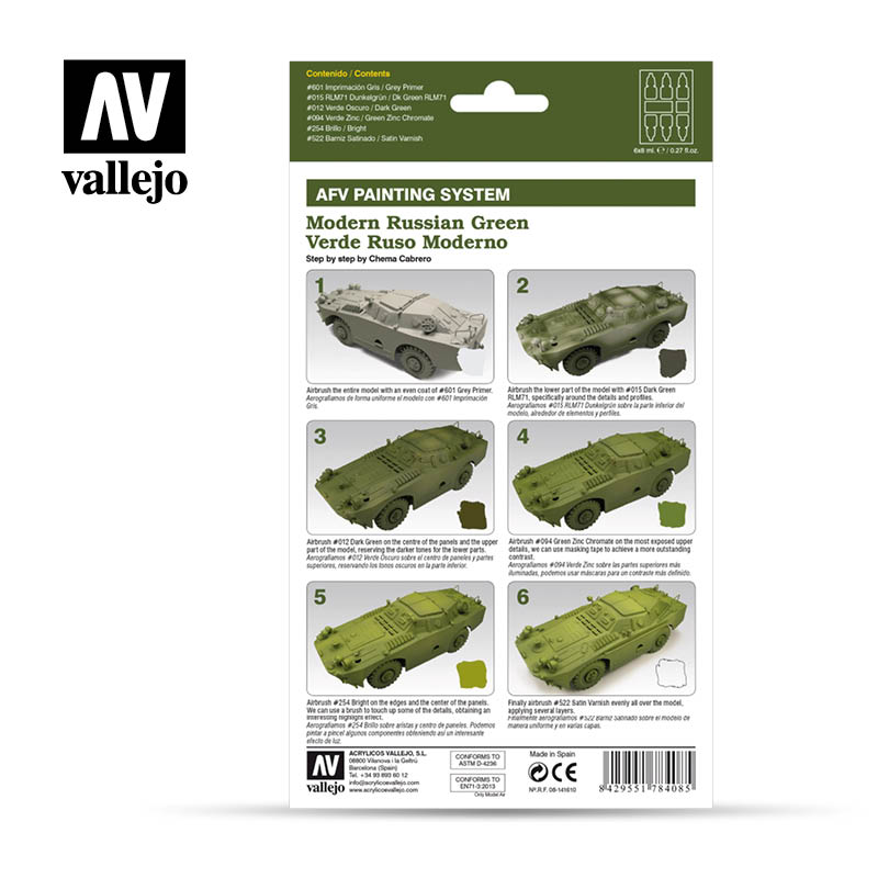 78.408 AFV Modern Russian Green Armour Painting System (6 x 8ml)