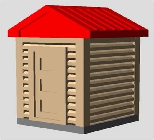 HOB001 -  3D GIZMO'S -  HO SCALE OUTHOUSE (3 PCS)