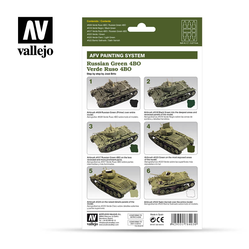 78.403 AFV Russian Green 4BO Armour Painting System (6 x 8ml)