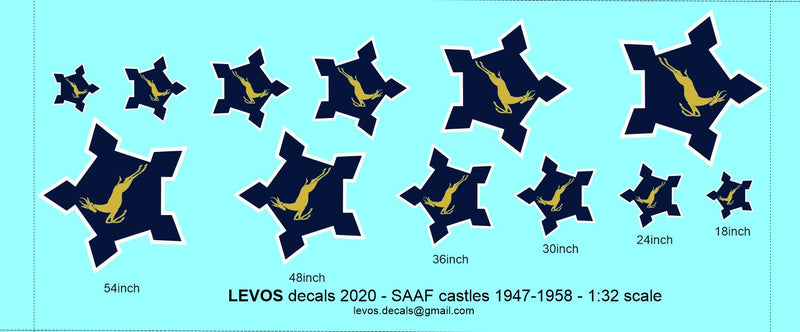 SAAF Castles 1947 - 1958 1:32 Scale Decals