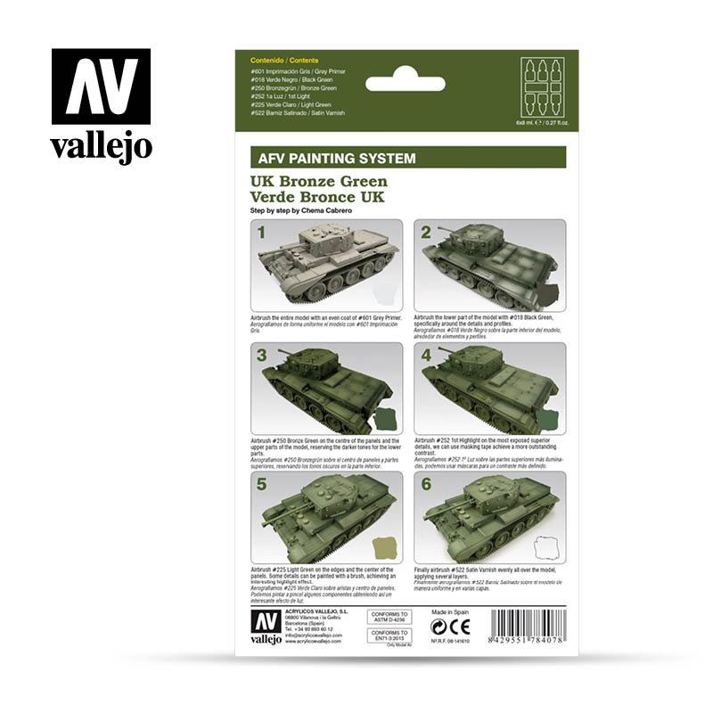 78.407 AFV UK Bronze Green Armour Painting System (6 x 8ml)