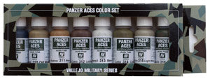 70.123 Wood, Leather, Stencil 8 Colour Set - Vallejo Panzer Aces - Supernova Studio