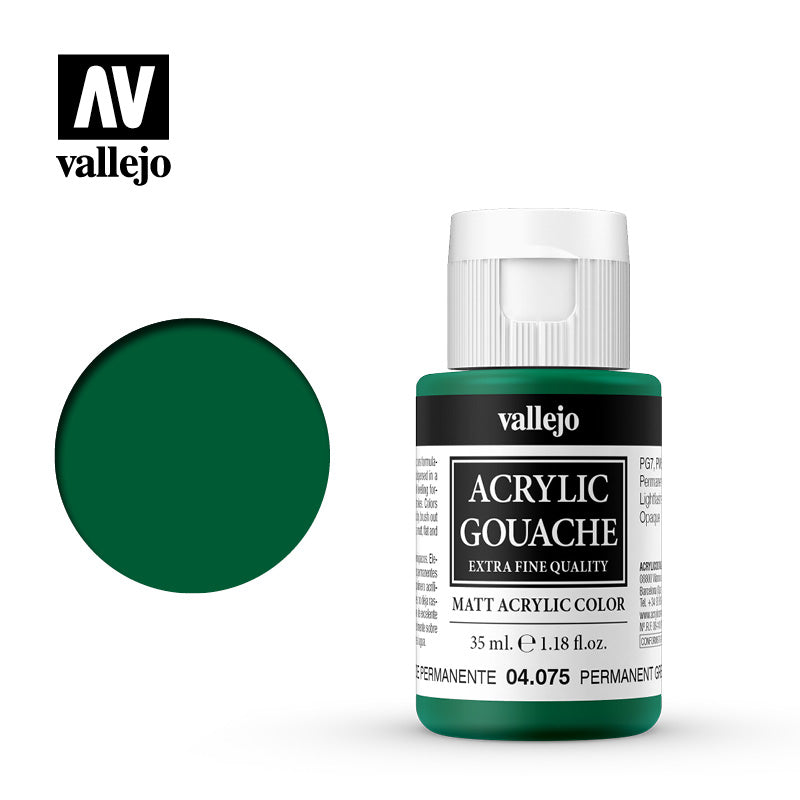 04.075  - Acrylic Gouache 75 - 35 ml - Permanent Green