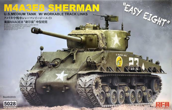 "RM5028 - US Army M4A3E8 ""Easy Eight"" Sherman Medium Tank w/Workable Track Links & Torsion Bars ( New Tools 2019 )"