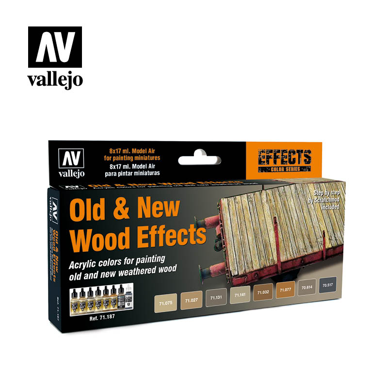 71.187 Old & New Wood Effects (8) - Vallejo Model Air Set - Supernova Studio