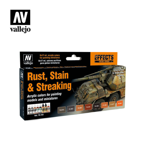 70.183 Model Color set - Staining, Rust and Streaking (8) - Vallejo Game Air Set - Supernova Studio