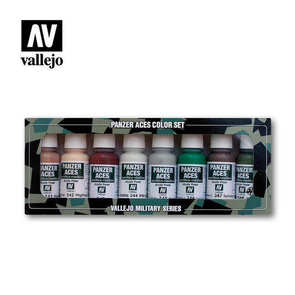 70.129 Skin Tone, Camouflage.. (8) Colour Set - Vallejo Panzer Aces