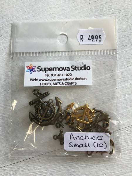 Steampunk Anchor Beads (Small) - 10 pcs